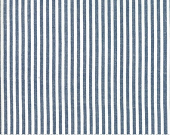 Bonnie and Camille Wovens Navy Stripe for Moda Fabrics  (12405 35) - Navy Stripe Fabric - Woven Fabric