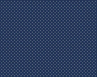 White Swiss Dot on Navy  (C670 21)
