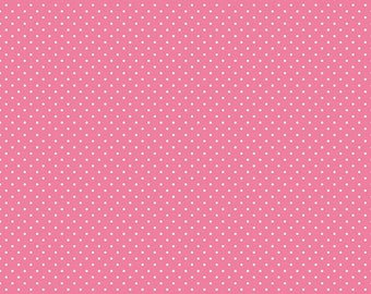 White Swiss Dot on Hot Pink (C670 70) by Riley Blake Designs - Polka Dot Fabric - Pink Swiss Dot Fabric