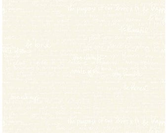 Riley Blake Designs, Tone-on-Tone Text Cream by Amanda Herring (C217-Cream)