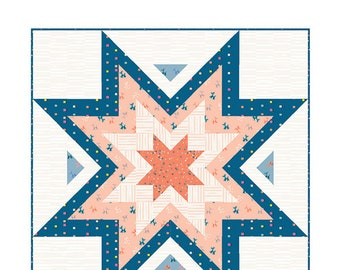 Expanding Stars Quilt Pattern by Quilt Love (QL 104) - 5 different size options - Modern Quilt Pattern
