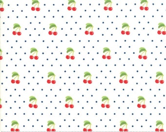Orchard Cherry Pie - White - April Rosenthal Orchard for Moda Fabrics (24074 13) - Cut Options Available