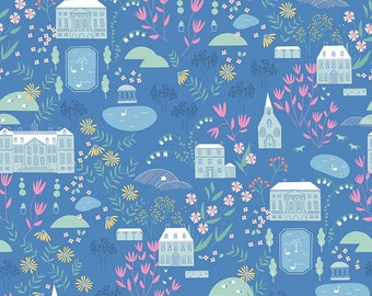 Pemberley Blue Main by Citrus and Mint Designs for Riley Blake Designs (C8820-BLUE)  - Jane Austen Fabric