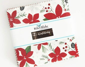 """Winterberry 5"""" Stacker - Winterberry by My Mind's Eye Charm Pack - Riley Blake Designs - Christmas Fabric - 42 pieces 5"""" x 5"""""""