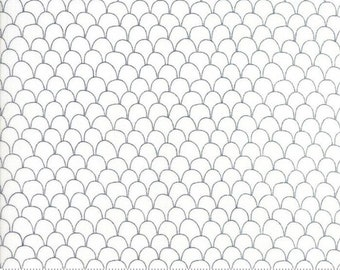 Farm Fresh Scalloped Feathers White by Gingiber for Moda Fabrics (48266 11) - Low Volume Print - Cotton Quilting Fabric