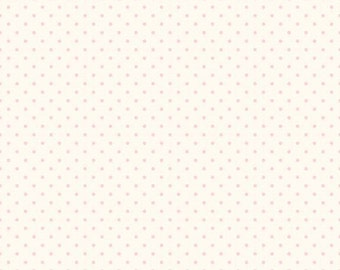 Baby Pink Swiss Dots on Cream, Riley Blake Designs (C600 75) - Swiss Dot Fabric - Cotton Quilting Fabric