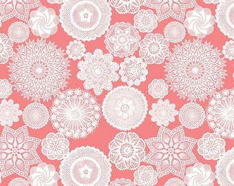 Vintage Keepsakes Doily Pink (C7862-PINK) by Beverly McCullough of Flamingo Toes for Riley Blake Designs.