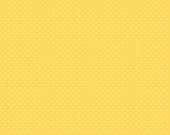 Riley Blake Designs, White Swiss Dot on Yellow  (C670 50)