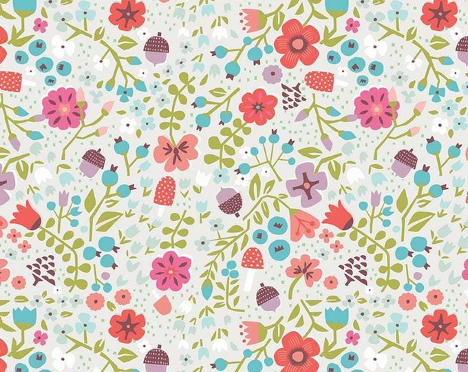 Little Red In The Woods Floral Cream (C8083-CREAM) by Jill Howarth