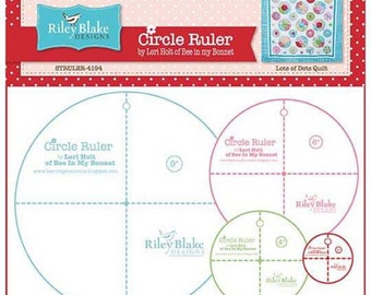 "Lori Holt Circle Ruler Set for Riley Blake Designs - 9"", 6"", 4"" and 2"" circle ruler set - Bee in my bonnet - Circle Templates"
