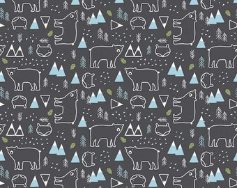 In The Forest Gray Bear and Fox Yardage by Riley Blake Designs (C8952-GRAY) - Cut Options Available