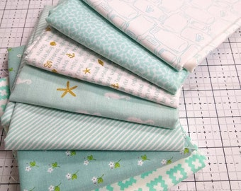 Stitches FQ Bundle - Aqua, Light Blue Fat Quarters SALE - (7) Fat Quarter Bundle - Aqua and White Fabrics - Quilting Cotton Fabric