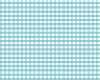 "Aqua Medium Gingham by Riley Blake Designs (C450-20) - Printed Gingham Fabric - Aqua - Quilting Cotton Fabric - 1/4"" print"