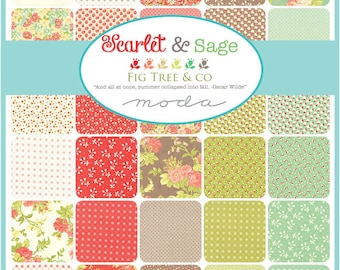 Fig Tree Scarlet and Sage Half Yard Bundle by Fig Tree for Moda - Quilting Cotton Fabric - 30 SKUs - PREORDER
