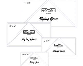 "Flying Geese Ruler Set 1 includes: 1-1/2"" x 3"", 2"" x 4"", 3"" x 6"", and 4"" x 8"""