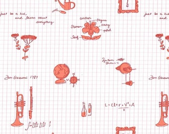Lola Dutch Learn About Everything in Peach  by Sarah Jane for Michael Miller - (DH8583-PEAC-D) - Lola Dutch Fabric