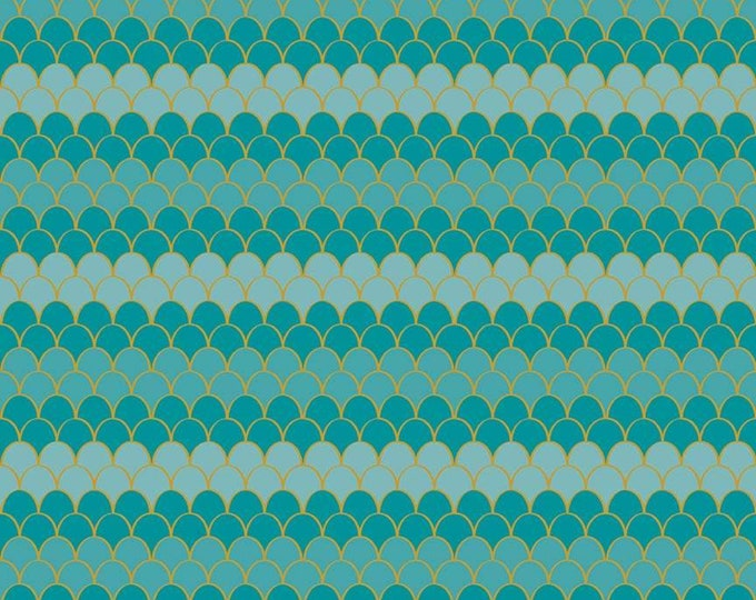 Lets Be Mermaids Scallops Teal Sparkle (SC7613-TEAL) by Melissa Mortenson of Polka Dot Chair