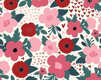 Hello Sweetheart Floral Cream fabric by Echo Park Paper Co. for Riley Blake Designs (C7621-CREAM)