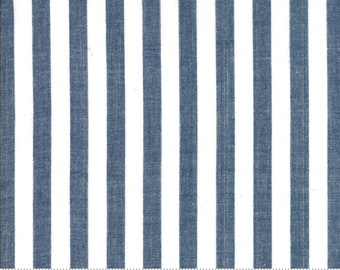 Bonnie and Camille Wovens Navy Stripe for Moda Fabrics  (12405 36) - Navy Stripe Fabric - Woven Fabric