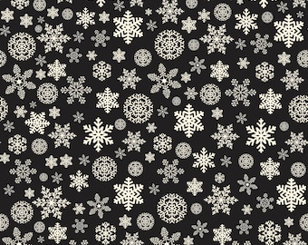 Christmas Delivery Snowflakes Black C7333-Black by Carta Bella