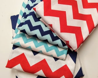 SALE - Chevron Remnant Sale - Scrap Bag - Over Two Yards of Fabric - Everything in the picture - Various Lengths - Red, White and Blue