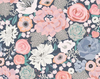 Edie Jane - Main - Navy (C8180 NAVY) by Deena Rutter for Riley Blake Designs - Girl Fabric  - Floral Fabric - Cotton Quilting Fabric