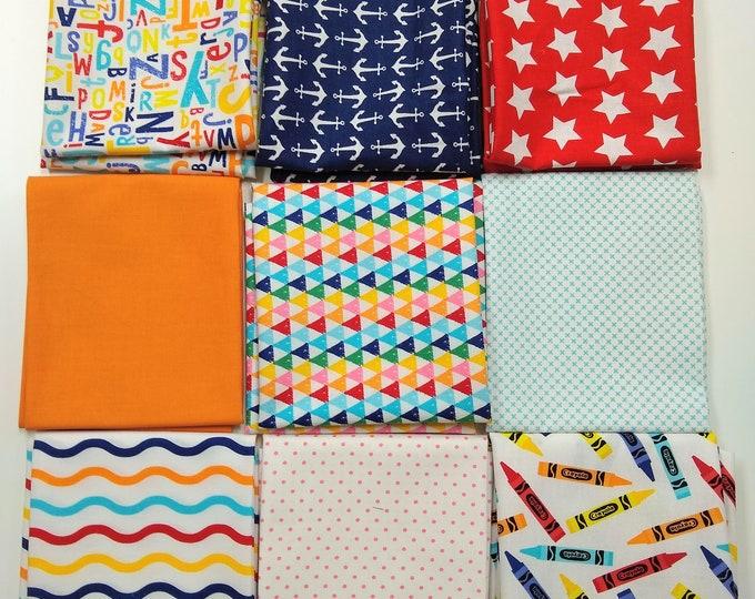 Crayola Color Me FQ bundle - 9 FQ's, including (4) Crayola Color Me prints and (5) Misc. Coordinating Prints