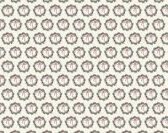 Winterberry - Cream Wreaths - My Mind's Eye - Riley Blake Designs - Christmas Fabric - Cut Options Available (C8445 CREAM)