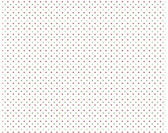 Riley Blake Designs, Swiss Dots Red and Green on White