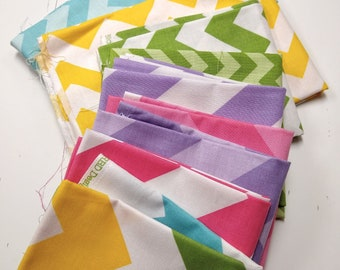 SALE - Chevron Remnant Sale - Scrap Bag - Over Two Yards of Fabric - Everything in the picture - Various Lengths