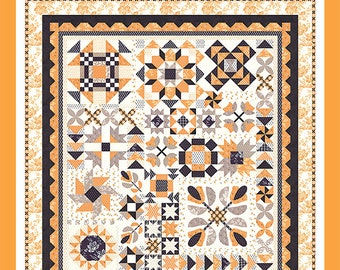 Halloween Figs Sampler Block of the Month Pattern - All Hallows Eve Block of the Month Quilt  by Fig Tree (FT 1469BG)