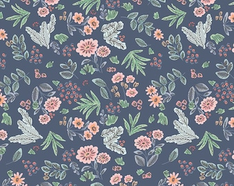 Edie Jane - Floral - Navy (C8181 NAVY) by Deena Rutter for Riley Blake Designs - Girl Fabric  - Cotton Quilting Fabric