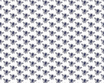 5 Yard Backing - SALE - In The Meadow Navy Honey Bee Yardage by Keera Job for Riley Blake Designs (C7993 NAVY) - Navy and White Fabric