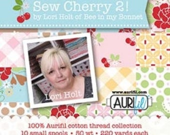 SEW CHERRY 2! by Lori Holt Aurifil Box of 10 Small Spools (50wt)