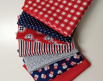 Patriotic Fabric Fat Quarter Bundle - Red, White and Blue Fabrics - 7 Fat Quarters - Cotton Quilting Fabric - Cut in House - FQ Bundle