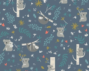 Joey Blue Main by Deena Rutter for Riley Blake Designs (C8490 BLUE) - Animal Fabric - Children's Fabric - Cotton Quilting Fabric