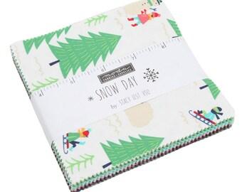 "Snow Day Charm Pack by Stacy Iest Hsu - (42) 5"" x 5"" squares - Stacy Iest Hsu Snow Day for Moda Fabrics"
