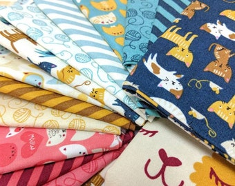 Meow Meow by Stacy Iset Hsu - FQ bundle - 14 Fat Quarters + Cat Panel