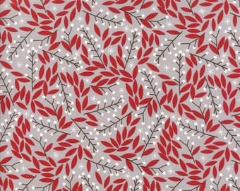 """Gingiber Merriment Holly Berries - Chill (48273 14) for Moda Fabrics - 10"""" remnant"""