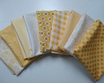 Yellow and White Fabric Bundle - Fat Quarters - (9) FQs - Quilting Cotton Fabric - Fat Quarter Bundle - Yellow and White Fabric
