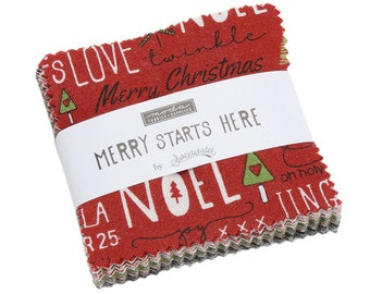 Merry Starts Here By Sweetwater - Mini Charm Pack (5730MC) - Sweetwater Merry Starts Here for Moda Fabrics - Christmas Fabric Precut