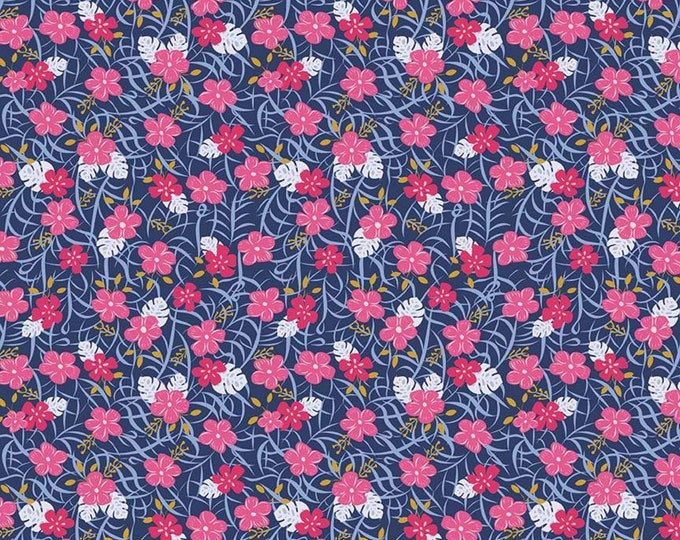 Lets Be Mermaids Floral Navy Sparkle (SC7612-PINK) by Melissa Mortenson of Polka Dot Chair