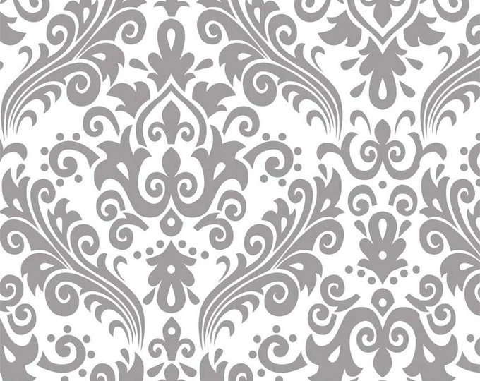 "RBD, Large Damask Gray on White (C840) - 21"" x 44"" remnant"