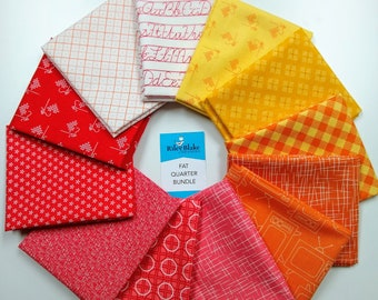 Lori Holt Warm Colors Fat Quarter Bundle - (12 pcs) by Lori Holt of Bee in My Bonnet (FQ-LHWARM-12) for Riley Blake Designs