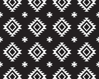 Aztec Black  SALE - Jersey KNIT Cotton Lycra Stretch Fabric - Cut options available - - Riley Blake Designs -