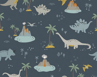 Fossil Rim 2 Navy Main by Deena Rutter for Riley Blake Designs (C8870-NAVY) - Dinosaur Fabric - Cut Options Available