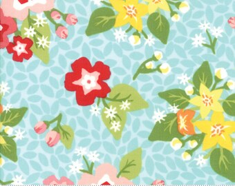 """Orchard Blossom - Sky Blue - April Rosenthal Orchard for Moda Fabrics (24070 14) - 10"""" remnant"""