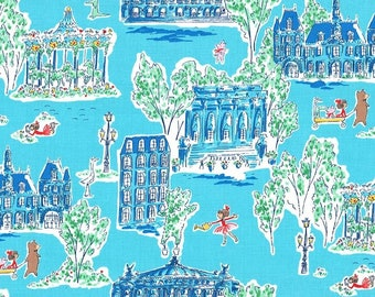 Lola Dutch Around Town in Blue by Sarah Jane for Michael Miller - (DH8589-BLUE-D) - Lola Dutch Fabric - Cut Options Available!