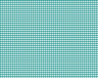"Teal Small Gingham by Riley Blake Designs (C440 26) - Printed Gingham - Teal Gingham, 1/8"" squares"
