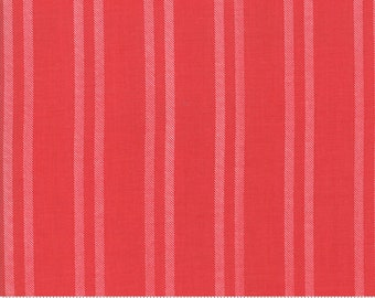 Little Tree by Lella Boutique - Farmhouse Stripe - Cranberry (5096 13)  Lella Boutique Little Tree for Moda Fabrics - Christmas Fabric